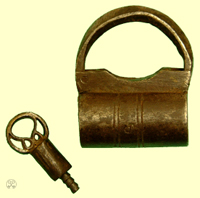Screw Key padlock, key with external thread