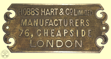 Hobbs, Hart & Co. Limited Plate