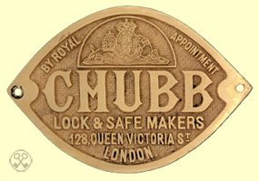 Chubb Lock & Safe Makers Plate